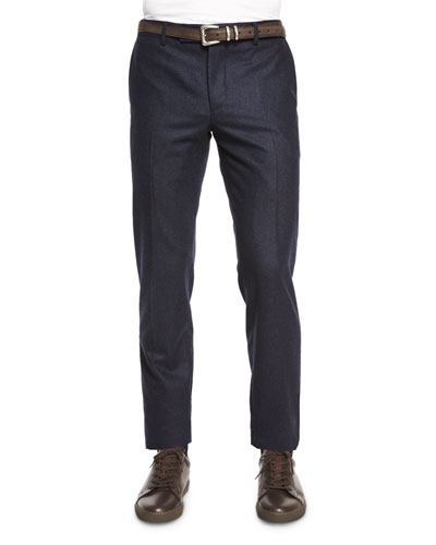 Flat-Front Flannel Slim-Fit Pants, Navy