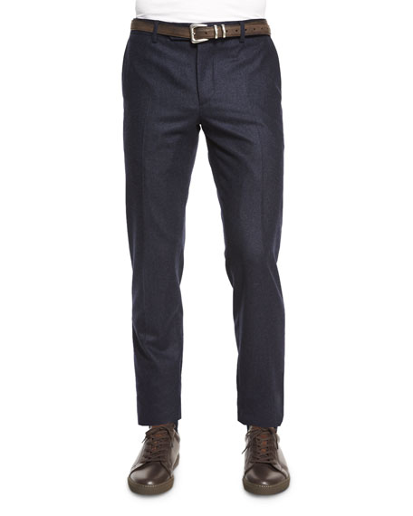 Brunello Cucinelli Flat-Front Flannel Slim-Fit Pants, Navy