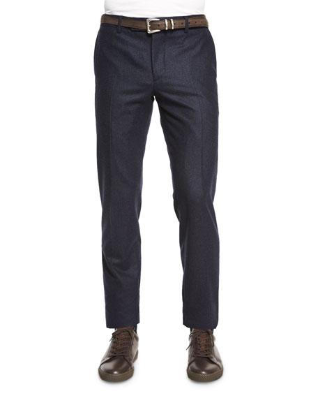Brunello Cucinelli Flat-Front Flannel Slim-Fit Pants, Navy