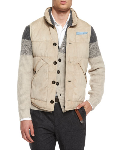 Button-Front Suede Vest, Light Brown