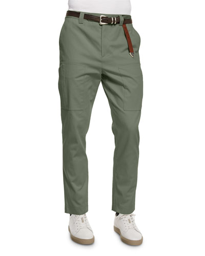 Slim-Fit Knit Cargo Pants, Olive