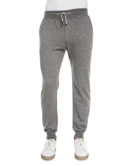 Brunello Cucinelli Cashmere Knit Jogger Pants, Gray