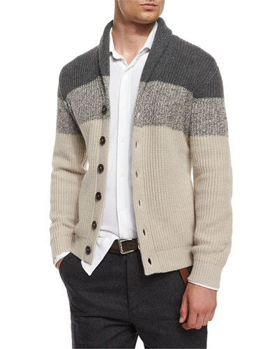 Shawl-Collar Colorblock Cashmere Cardigan, Light Brown