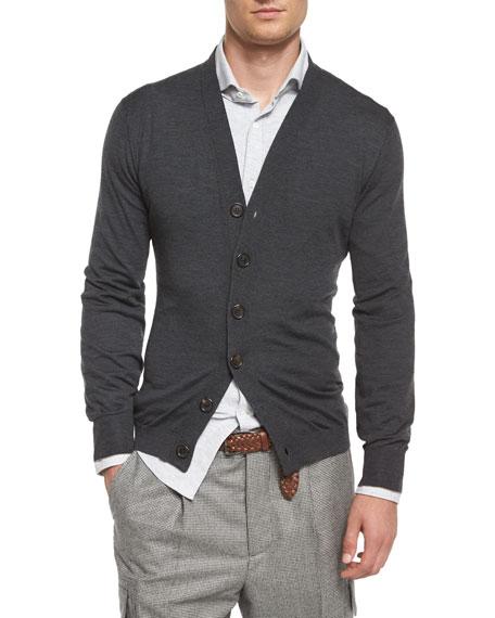 Brunello Cucinelli Wool-Blend Knit Cardigan, Dark Gray