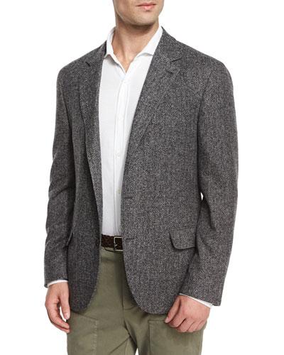 Chevron Two-Button Soft Jacket, Gray