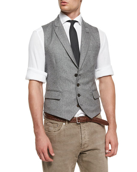 Chevron Four-Button Wool Waistcoat, Gray