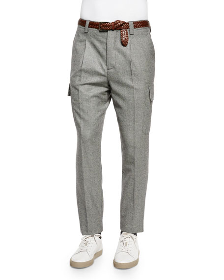 Brunello Cucinelli Slim-Fit Wool Cargo Pants, Gray