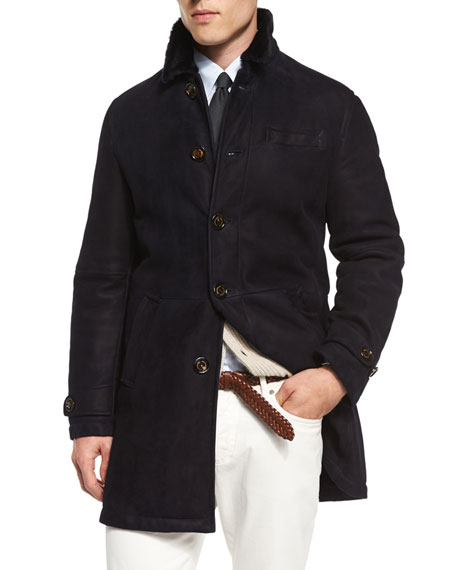 Brunello Cucinelli Button-Down Shearling Fur Coat, Navy