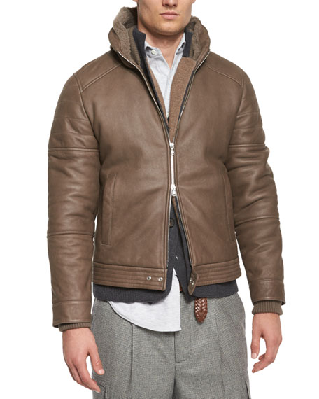 Shearling-Fur Hooded Bomber Jacket, Brown