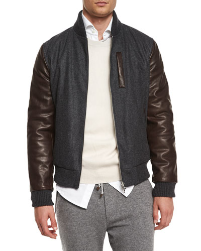 Mixed-Media Wool Bomber Jacket, Dark Gray