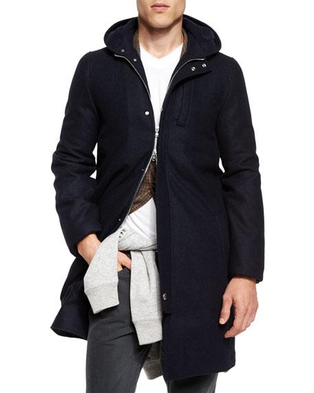 Brunello Cucinelli Montgomery Flannel Coat, Navy