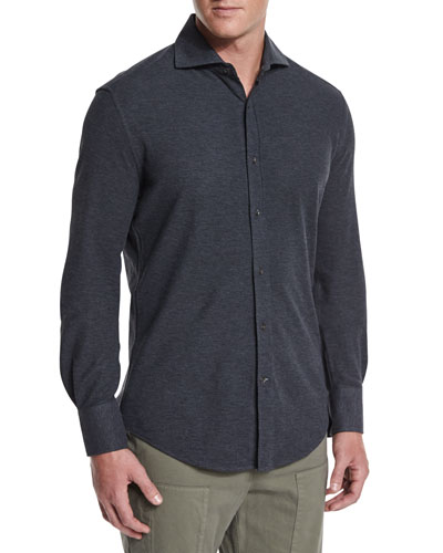 Long-Sleeve Pique-Knit Shirt, Dark Gray