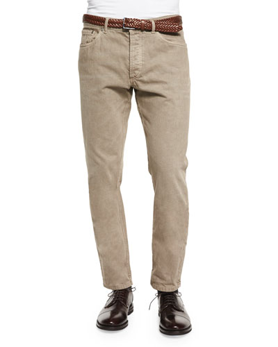 Five-Pocket Cotton Pants, Brown