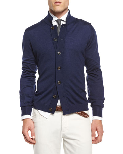 Button-Down Knit Cardigan, Navy