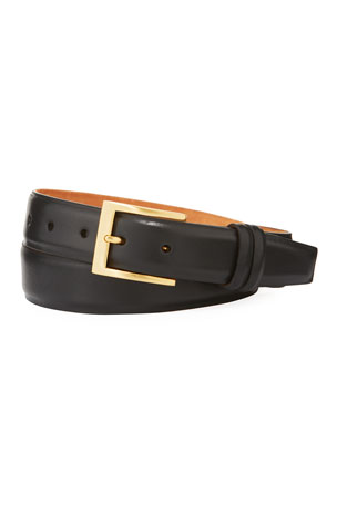 W. Kleinberg Basic Leather Belt with Interchangeable Buckles, Black