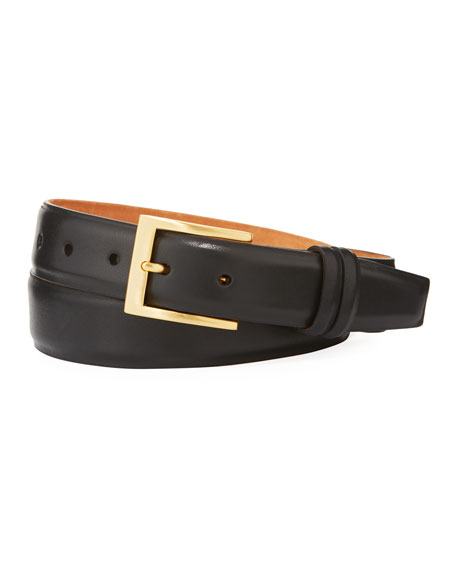 Basic Leather Belt with Interchangeable Buckles, Black