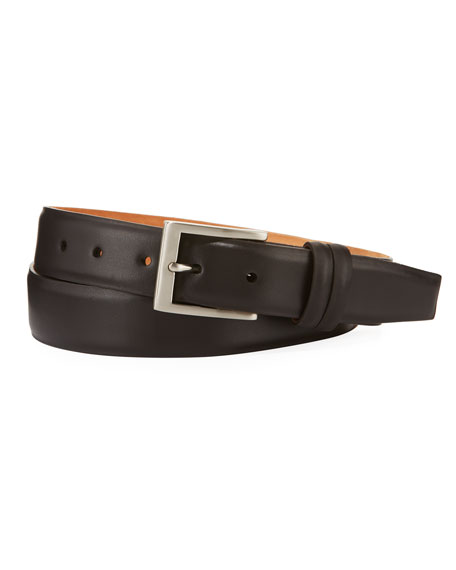 W. Kleinberg Basic Leather Belt with Interchangeable Buckles,