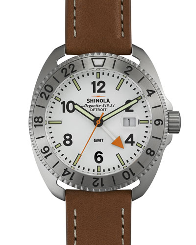 44mm Rambler GMT Watch, Tan/White