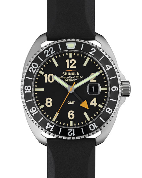 Shinola 44mm Rambler GMT Watch, Black
