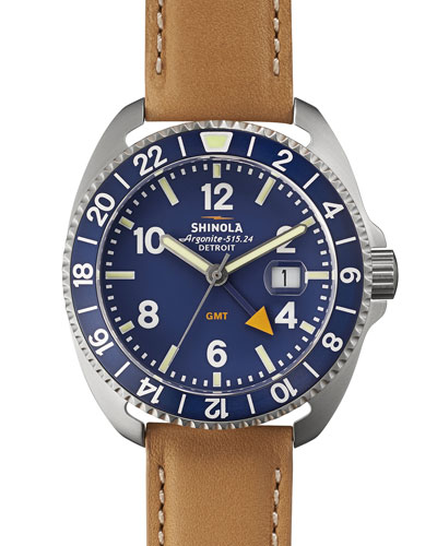 44mm Rambler GMT Watch, Natural/Blue