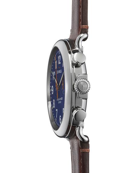 47mm Runwell Chronograph Men's Watch, Blue/Cognac