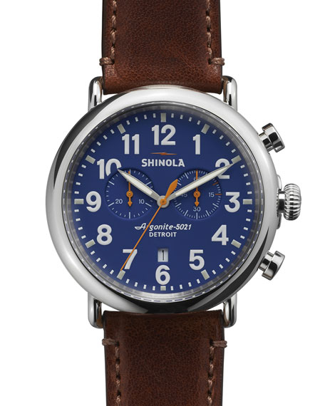 Shinola Men's 47mm Runwell Chronograph Men's Watch, Blue/Cognac