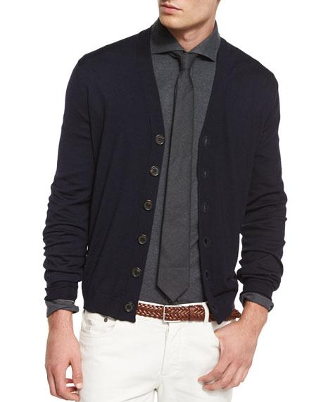Brunello Cucinelli Wool-Blend Button Cardigan, Charcoal