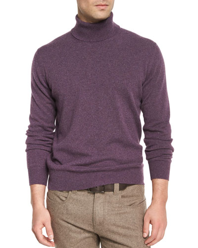 Baby Cashmere Turtleneck Sweater, Aubergine