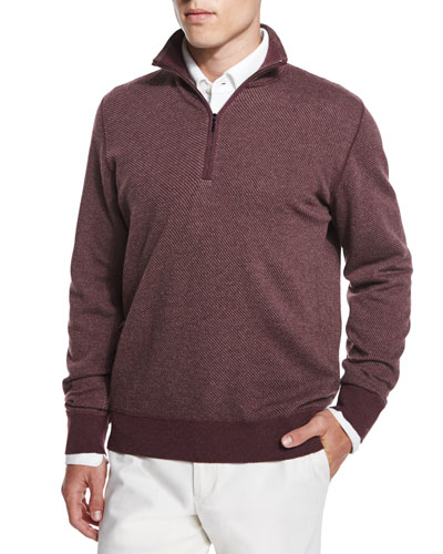 Roadster Half-Zip Cashmere Sweater, Burgundy