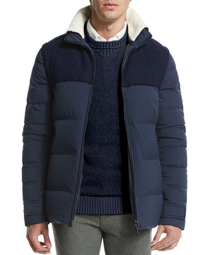 Mixed-Media Quilted Jacket, Navy