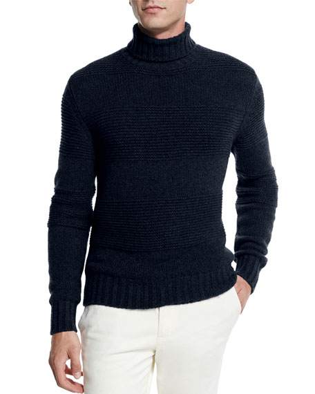 Loro Piana Textured Baby Cashmere Turtleneck Sweater