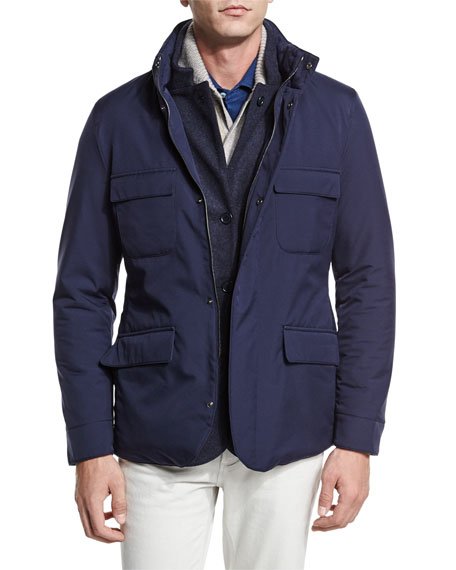 Loro Piana Reversible Cashmere-Nylon Field Jacket, Blue