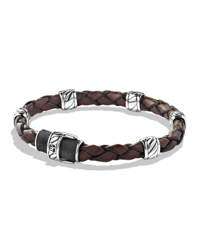 Men's Woven Leather Station Bracelet, Brown