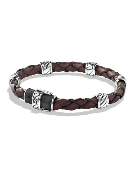 David Yurman Men's Woven Leather Station Bracelet, Brown