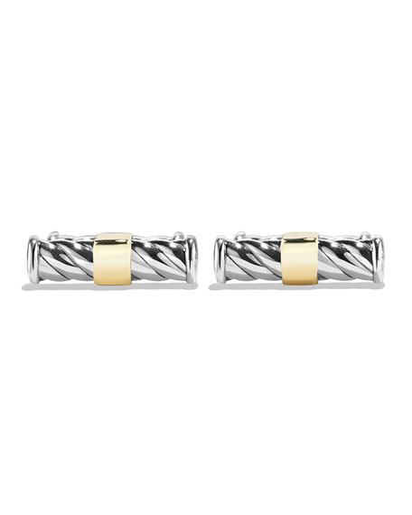 Classic Cable Cuff Links, Sterling Silver/18k Gold