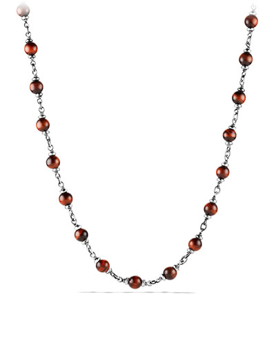 Rosary Bead Necklace with Tiger's Eye, Red