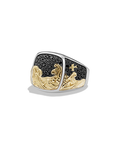 Waves Signet Ring with Pave Diamonds