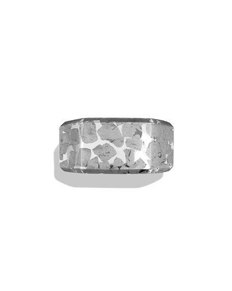 Men's Meteorite Inlay Signet Ring