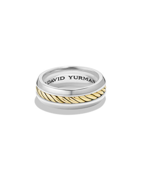 Men's 18k-Gold/Silver Band Ring
