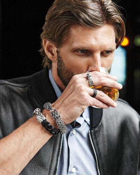 Men's Silver Eagle Head Leather Bracelet