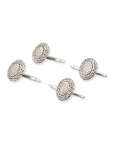Diamond & Classic Chain Tuxedo Cuff Links, Silver