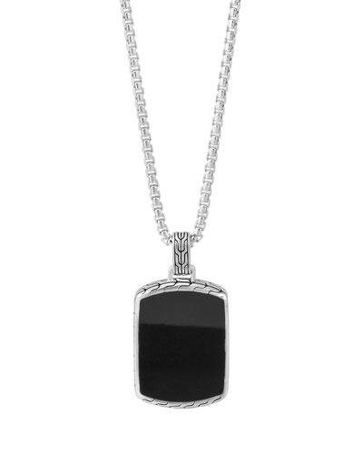Men's Classic Chain Black Jade Tag Box-Chain Necklace