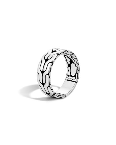 Men's Silver Woven Chain Ring, Size 10