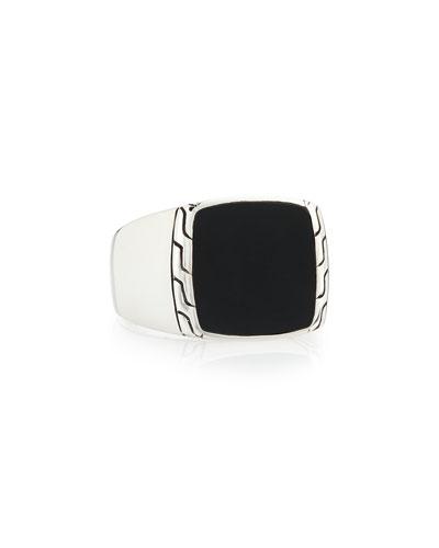 Men's Silver & Black Jade Signet Ring