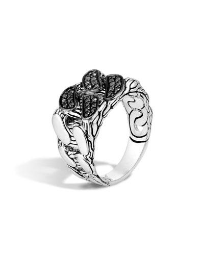 Men's Lava Black Sapphire Chain Gourmette Ring