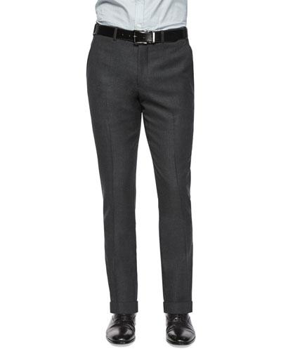 Mini-Hopsack Flat-Front Wool Trousers, Charcoal