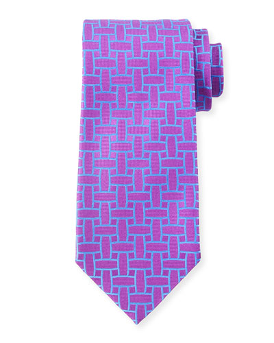 Cutout Print Silk Tie, Purple