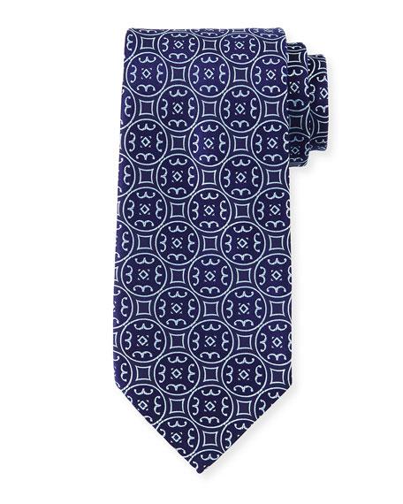Large-Medallion Silk Tie, Blue