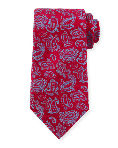 Paisley-Print Silk Tie, Red/Blue