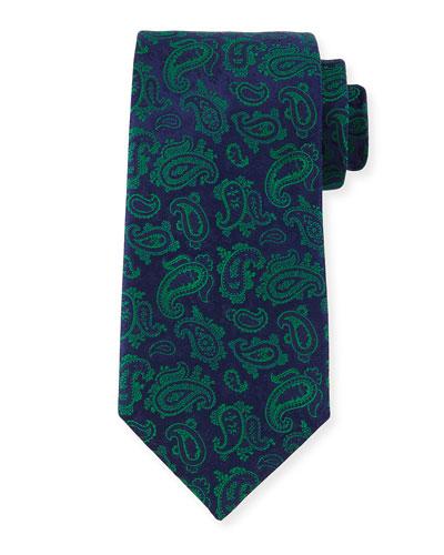 Paisley-Print Silk Tie, Blue/Green